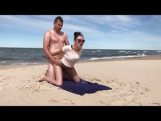 Fantastic public beach sex whit wife