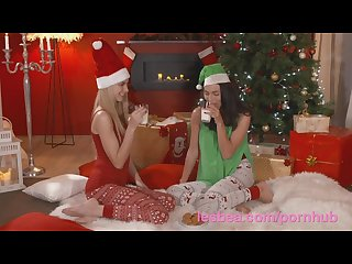 Lesbea xmas girlfriend gets first time fuck with a strap on dildo