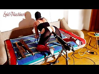 Homemade fuck machine deep ramming gagged slut part i