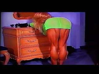 Extreme muscular calves show in green dress and heels by ldr calf queen