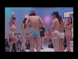 Japanese game show girls stripping Yakyuken rock paper scissors