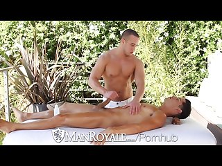 Bobby hart sits on alex grahams hard cock outside