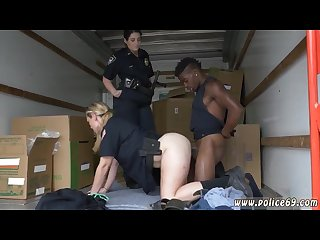 Busty cop Rebecca linares black suspect taken on a harsh ride