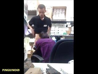 Co worker fucked on hidden cam in storage room