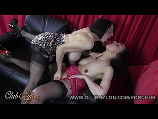 Horny lesbian milfs lick big tits and juicy pussy wank in nylons lingerie