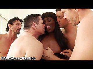 Hardx ebony babe ana foxxx 1st dp rough gangbang w big dicks