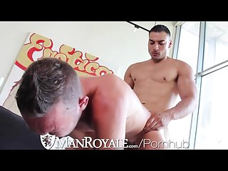 Manroyale naked workout leads to push up blowjobs