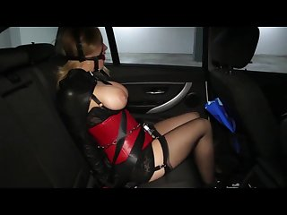 Carissa montgomery leather bondage and harness gagged