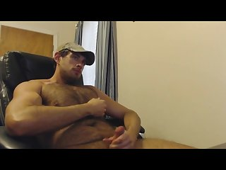 Hairy muscle cub jerks off cums 2