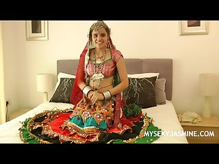 Charming indian college girl Jasmine in gujarati garba dress