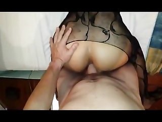 Amateur wife in fishnet anal fuck pov