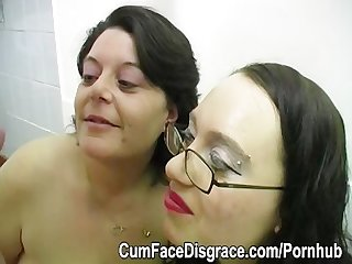 Two mature women get cum in their mouths and on their faces