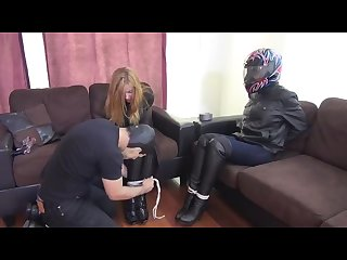 Biker leather girls tape gagged