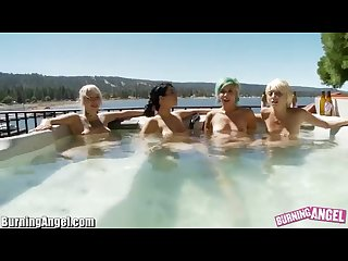 Lesbian punk girls in a hot tub