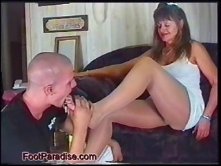 Mature footjob on student