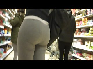 Huge candid bubble butt in tight grey sweat pants