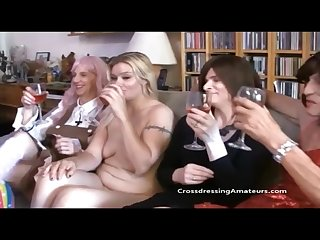 Crossdressing group sex with a younger female