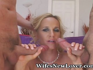 Wifey stuffed with 2 cocks