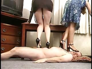 Vinyl queen double trample in high heels