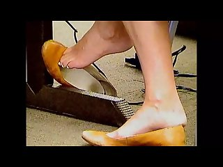 Candid feet shoeplay college girl in brown flats