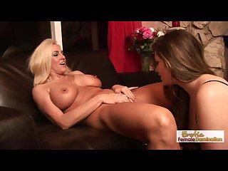 Lesbian mature couple has fun with a big strapon