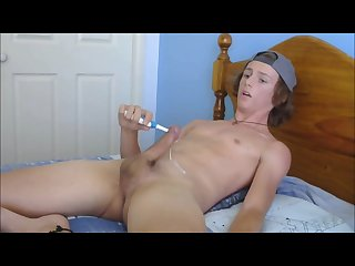 Teen boy cumming with electric toothbrush