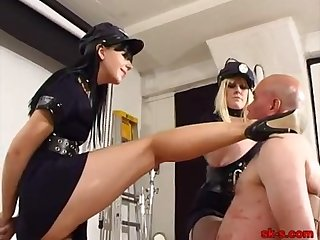 Femdom cops face slap slave