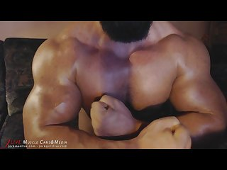 Squeezing pecs quads and ass you will love it