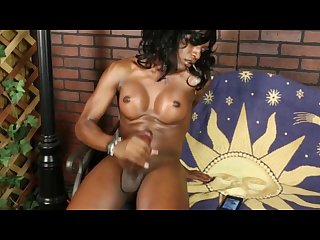 Black shemale bombshell chanel jerks and cums