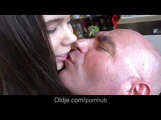 Barely legal teenie first time sexing with old man