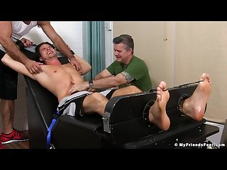 Handsome twonk sergey is restrained for a tickling threesome