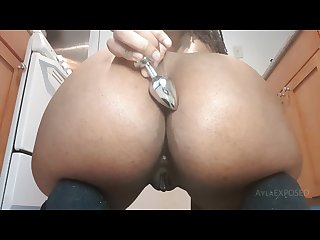 Anal dildo ride and butt plug tease