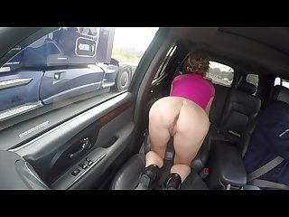 Bubble butt milf in short skirt heels flashing pussy on highway