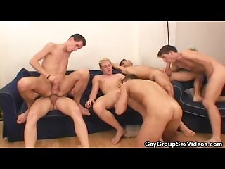 Gay orgy frenzy ends in a cum drenching