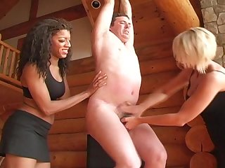 Tied up ballbusted by 2 mistress femdom cbt ballbusting