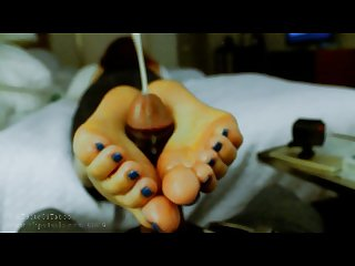Intense oily footjob edging bbc solejob domination post cum milking