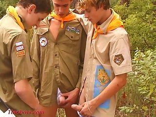Young threesome teen boys in public