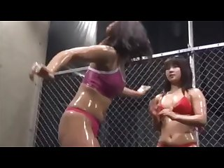 Japanese beautiful young girls Catfight scramble for a bikini
