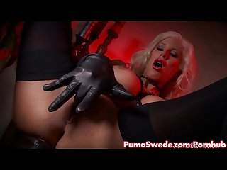 Devilish blonde puma swede fingers her pussy
