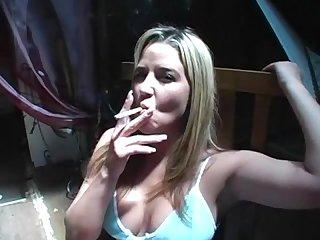 Kelli tyler smokes cigarette