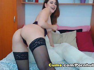 Pretty blonde babe sucks and slides her dildo in her pussy