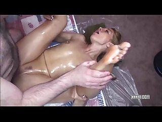 Blonde lina covered in oil and fucked by a geek