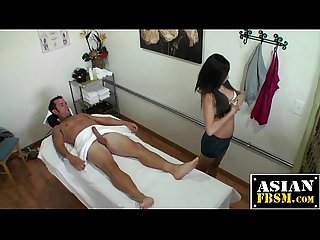 Asian massage with a slippery handjob