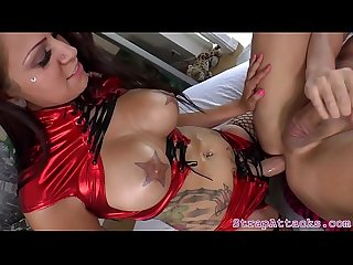 Busty prodomme Babe pegging subs butthole