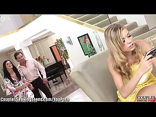 Kinky couple seduces the babysitter