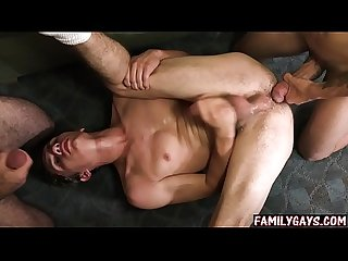 Gay father helps son to fuck his friend