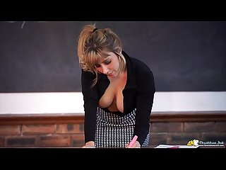 Teacher downblouse for the lucky student