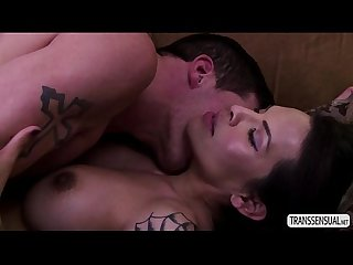 Latina TS Foxxy gets pounded hard by hunk big fuck rod