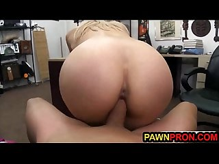 Gorgeous Blonde Invited to Pawnshop Office for Fuck