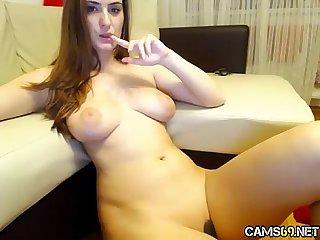 Big Tit Amateur MILF Strips and Rubs Shaved Pussy on Webcam pt 13 - cams69.net